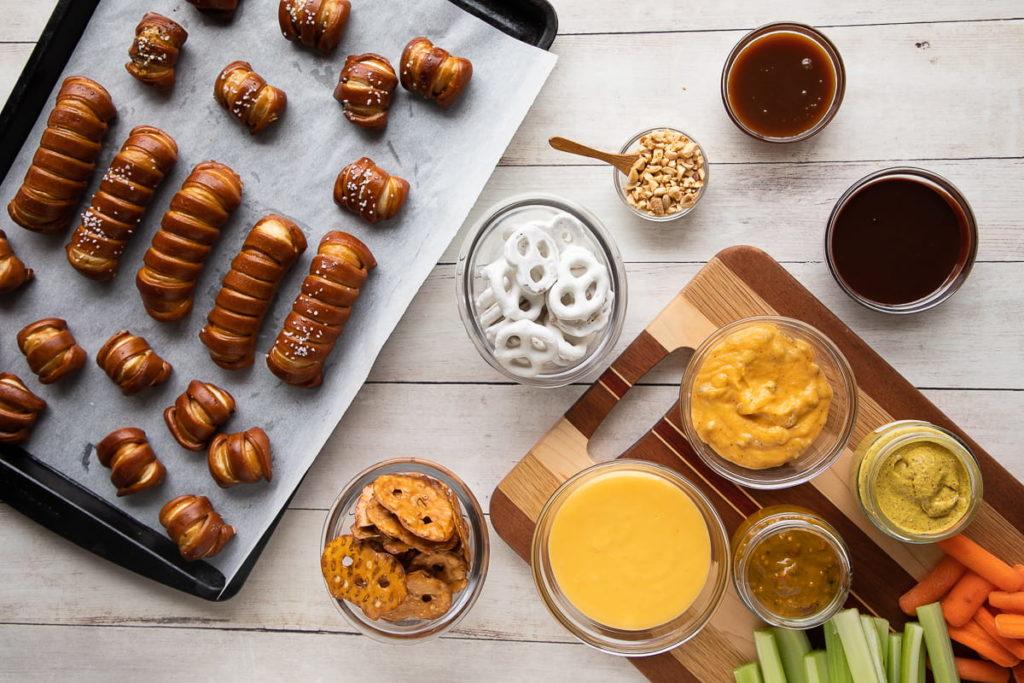ingredients for a pretzel boarding including pretzels