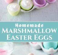 pin of homemade marshmallow easter eggs