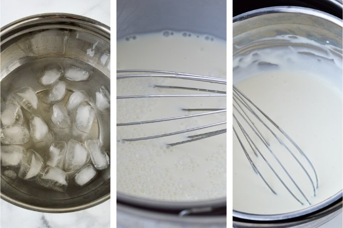 process of using a water bath for panna cotta