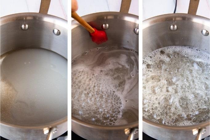 process of heating sugar syrup