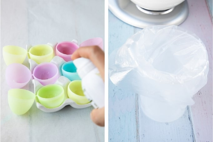 spraying plastic eggs with non-stick spray and preparing a pastry bag with large tip