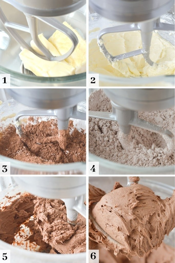 process of making chocolate buttercream frosting