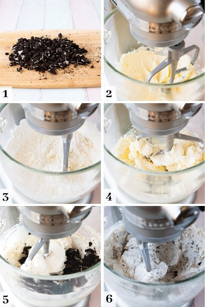 process of making cookies and cream buttercream frosting