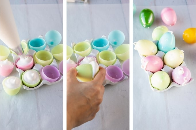 process of filling plastic eggs with marshmallow mix