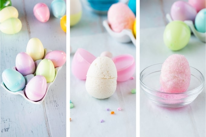 process of resting easter marshmallow eggs and covering in sugar