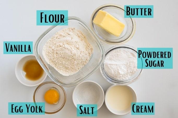 ingredients for tart dough