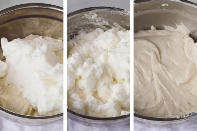 folding in egg whites into cake batter