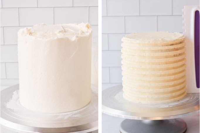 creating grooves in frosting for striped cake