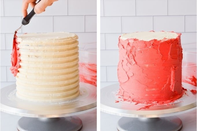 frosting red stripes on a cake
