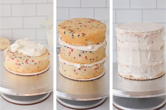 frosting a cake with a crumb coat