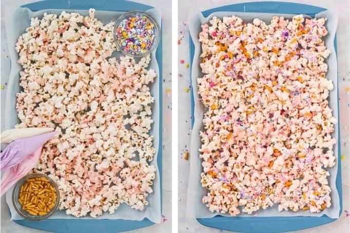process of decorating unicorn popcorn