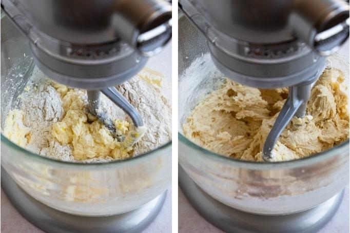 adding dry ingredients to lemon sugar cookie dough