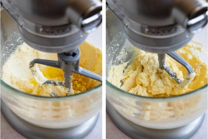 adding wet ingredients to butter and sugar