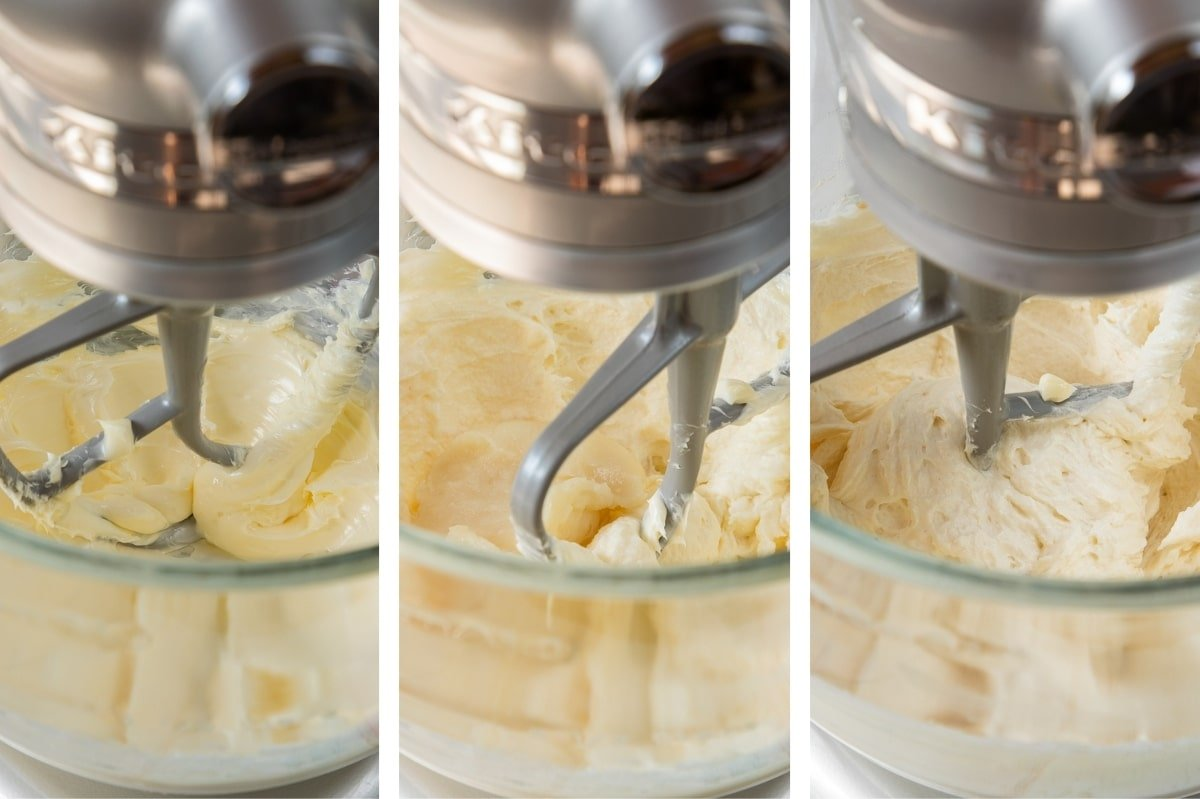 mixing flour roux mixture into whipped butter
