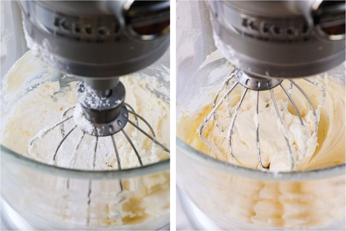 adding powdered sugar to mixed butter and cream cheese in mixer