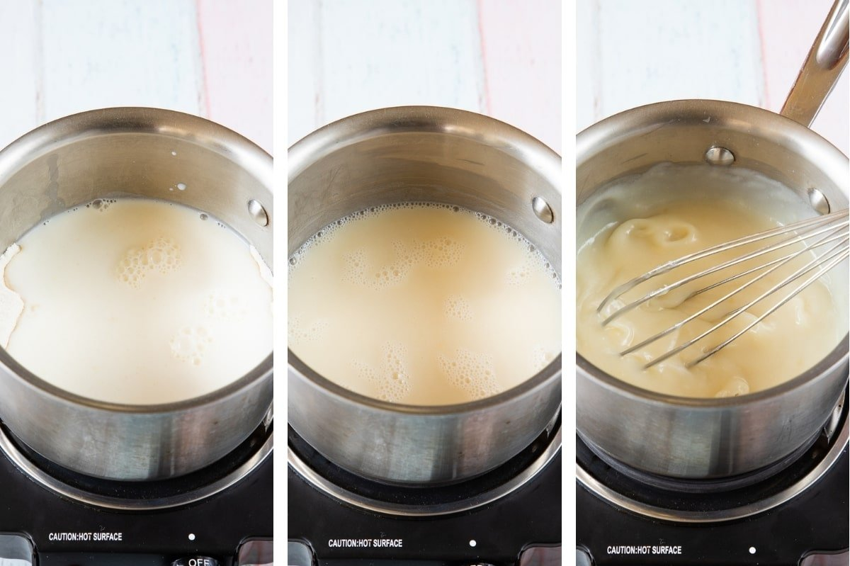heating milk sugar and flour until it forms a roux