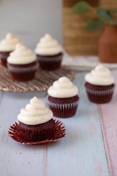 Ermine Frosting on red velvet cupcakes